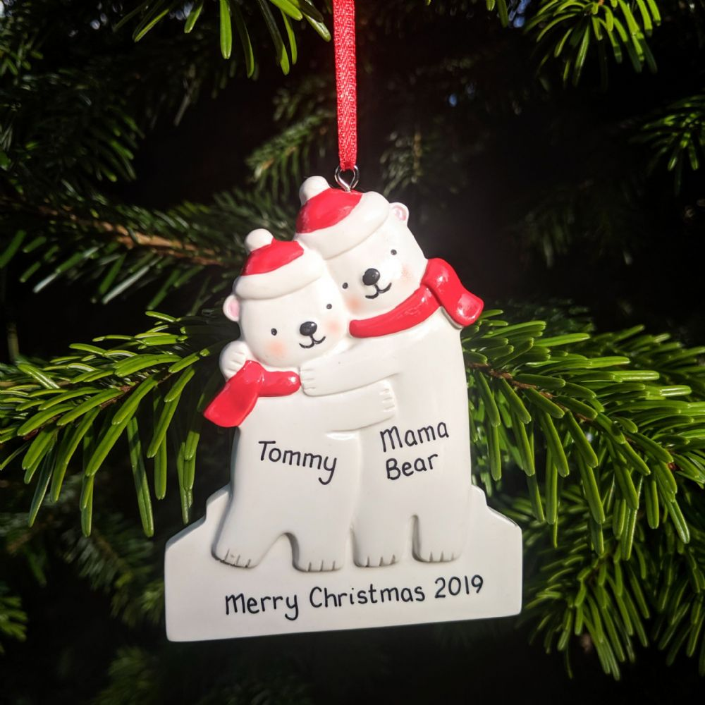 Personalised Polar Bear Single Parent Christmas Tree Decoration